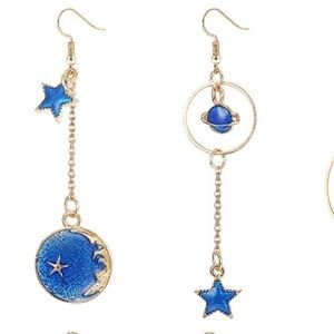 Anthropologie blue moon and star earrings